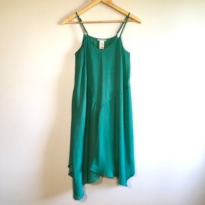 UO Kelly Green Asymmetrical Crepe Dress by Cope